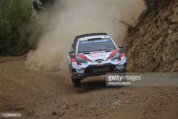 Sebastien Ogier of France and Julien Ingrassia of France compete with their Toyota Gazoo Racing WRT Toyota Yaris WRC during Day Two of the FIA World...