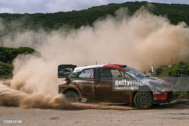 Sebastien Ogier of France and Julien Ingrassia of France compete with their Toyota Gazoo Racing WRT Toyota Yaris WRC during Day Three of the FIA...
