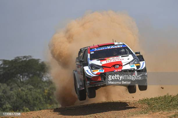 Sebastien Ogier of France and Julien Ingrassia of France compete with their Toyota Gazoo Racing WRT Toyota Yaris WRC during the Shakedown of the FIA...