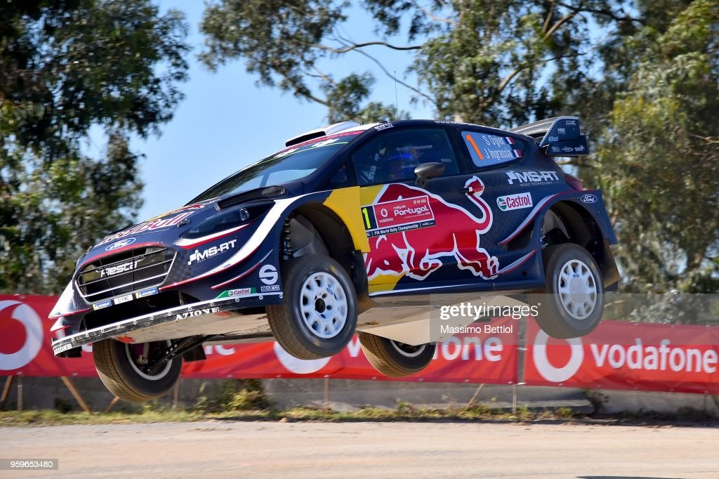 Sebastien Ogier of France and Julien Ingrassia of France compete with their M-Sport Ford WRT Ford Fiesta WRC during Day One of the WRC Portugal on May 17, 2018 in Faro, Portugal.