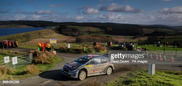 Sebastien Ogier of France and Julien Ingrassia of France in the MSport WRT Ford Fiesta WRC on the Brenig Stage during day four of the Dayinsure Wales...