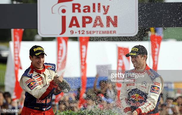 Sebastien Ogier of France and Julien Ingrassia of France of Citroen C4 Junior Team celebrate their victory during Leg 3 of the WRC Rally Japan on...