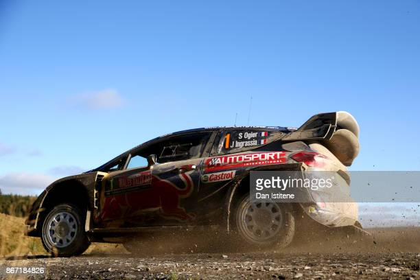 Sebastien Ogier of France and MSport World Rally Team drives with codriver Julien Ingrassia of France during day one of the FIA World Rally...