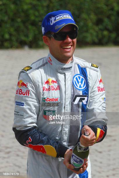 Sebastien Ogier of France celebrates during day three of FIA World Rally Championship Mexico on March 10 2013 in Leon Mexico