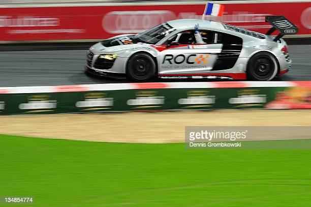 Sebastien Ogier of France celebrates during day two of the race of champions event at the Esprit Arena on December 4 2011 in Duesseldorf Germany