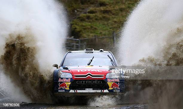 Sebastien Ogier of France driving in the Citroen Total WRT in action during stage one of the Wales Rally GB at Sweet Lamb on November 12 2010 in...