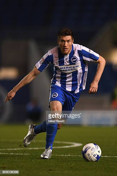 Sebastien Pocognoli of Brighton Hove Albion in action on his debut during the EFL Cup Third Round match between Brighton Hove Albion and Reading at...