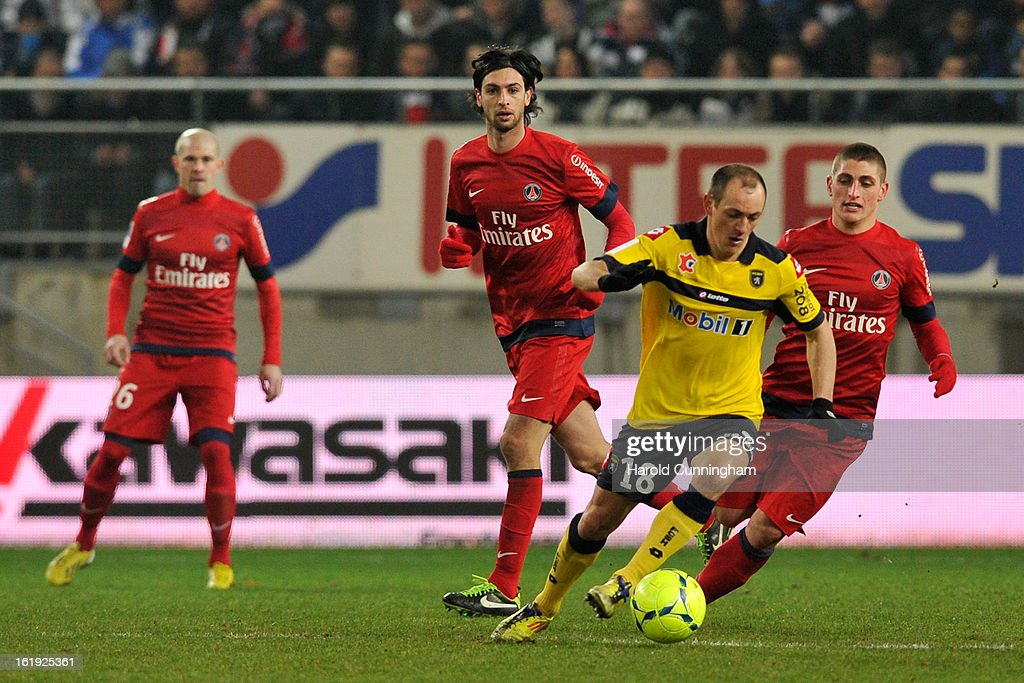 Sebastien Roudet of FC Sochaux-Montbeliard competes for the ball during the French League 1 football match between FC Sochaux-Montbeliard and Paris Saint-Germain FC at Stade Auguste Bonal on February 17, 2013 in Montbeliard, France.