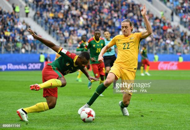 Sebastien Siani of Cameroon and Jackson Irvine of Australia battle for possession during the FIFA Confederations Cup Russia 2017 Group B match...