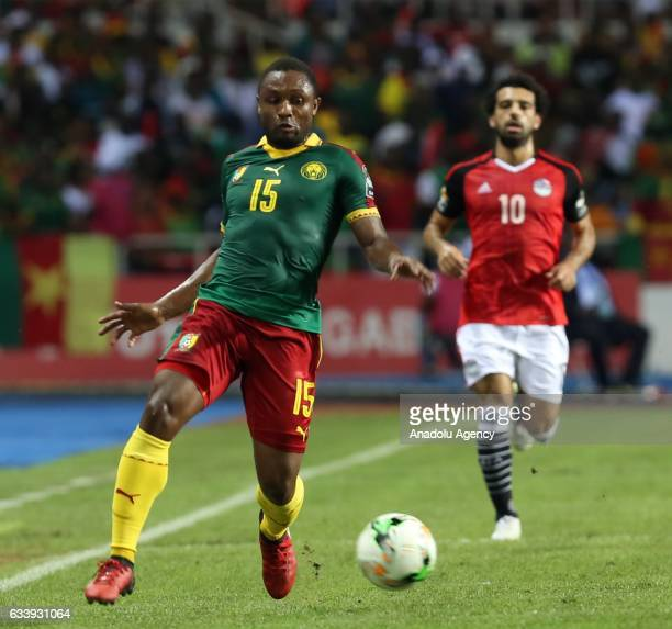 Sebastien Siani of Cameroon in action during the 2017 Africa Cup of Nations final football match between Egypt and Cameroon at the d'Angondje Stadium...