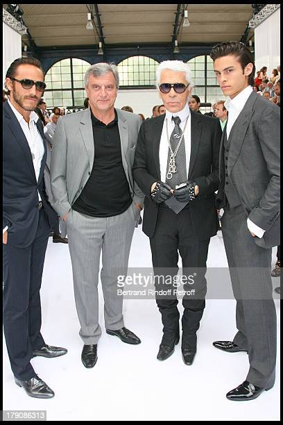 Sebastien Sidney Toledano Karl Lagerfeld and Baptiste Giacobini at Dior Men's Fashion Show Summer 2010