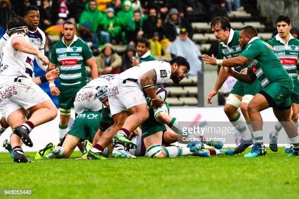 Sebastien Taofifenua of Bordeaux Begles during the French Top 14 match between Bordeaux Begles and Pau at Stade ChabanDelmas on April 7 2018 in...