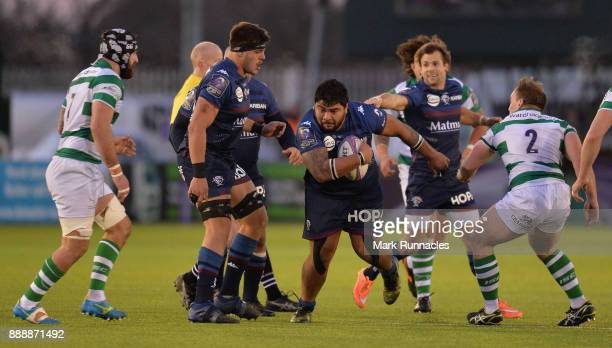 Sebastien Taofifenua of Bordeaux breaks free during the European Rsugby Challenge Cup match between Newcastle Falcons and Bordeaux on December 9 2017...