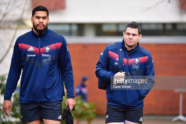 Sebastien Taofifenua of France and Guilhem Guirado of France arrive for the training session at the French rugby headquarters ahead of the Six...