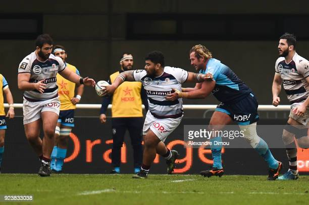 Sebastien Taofifenua of Montpellier during the Top 14 match between Montpellier and Bordeaux Begles on February 24 2018 in Montpellier France