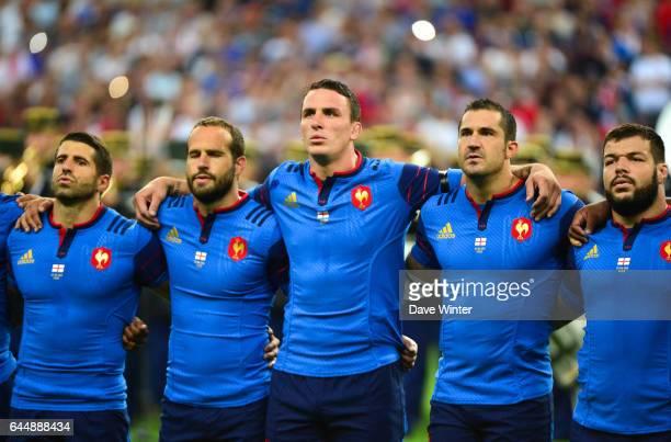 Sebastien TILLOUS BORDE / Frederic MICHALAK / Louis PICAMOLES / Scott SPEDDING / Rabah SLIMANI France / Angleterre Test Match Photo Dave Winter /...