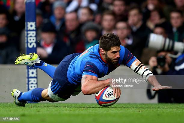 Sebastien TillousBorde of France scores his team's first try during the RBS Six Nations match between England and France at Twickenham Stadium on...