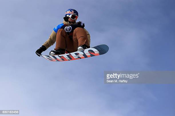Sebastien Toutant of Canada competes in the final round of the FIS Snowboard World Cup 2017 Men's Snowboard Big Air during The Toyota US Grand Prix...