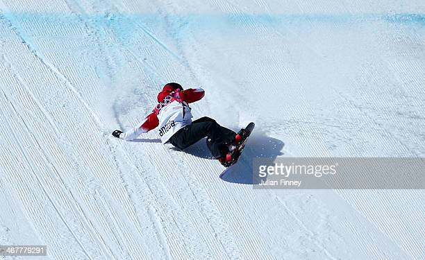 Sebastien Toutant of Canada crashes out after his second run during the Snowboard Men's Slopestyle Final during day 1 of the Sochi 2014 Winter...