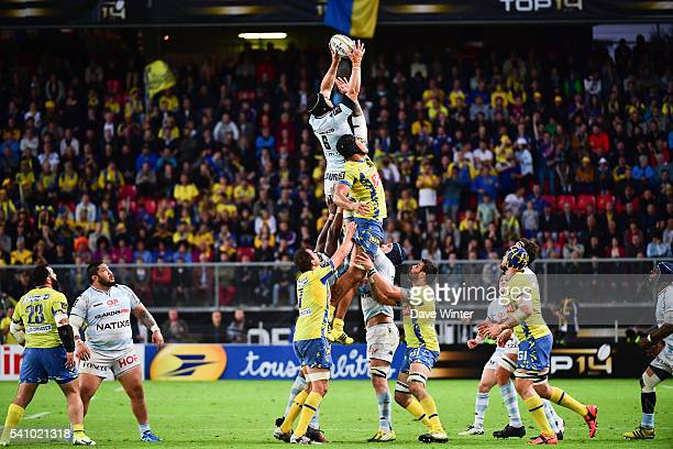 Sebastien Vahaamahina of Clermont and Wenceslas Lauret of Racing 92 during the Rugby Top 14 League semi final match between Racing 92 and Clermont...