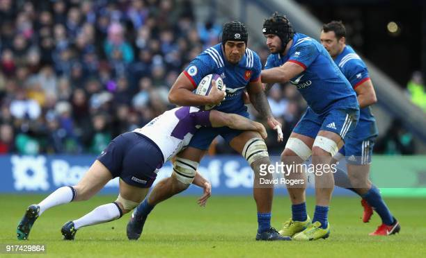 Sebastien Vahaamahina of France is tackled during the Six Nations match between Scotland and France at Murrayfield on February 11 2018 in Edinburgh...