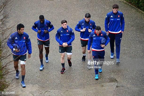 Sebastien VAHAAMAHINA Yacouba CAMARA Camille CHAT Loann GOUJON Guilhem GUIRADO Alexandre FLANQUART of France during the French Rugby Union team...