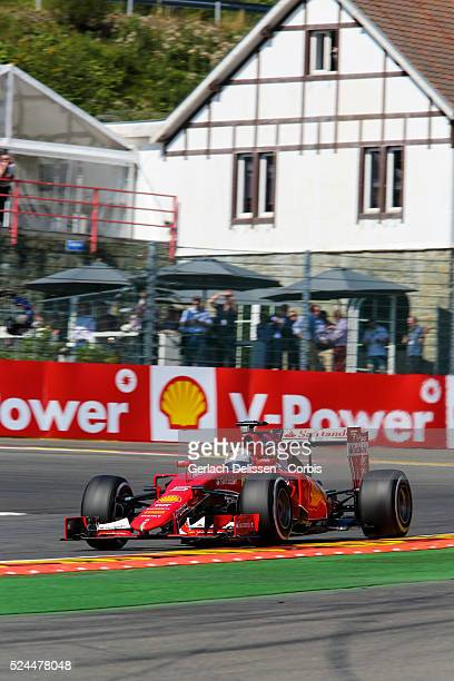 Sebastien Vettel of the Scuderia Ferrari Team during the 2015 Formula 1 Shell Belgian Grand Prix free practise 1 at Circuit de SpaFrancorchamps in...