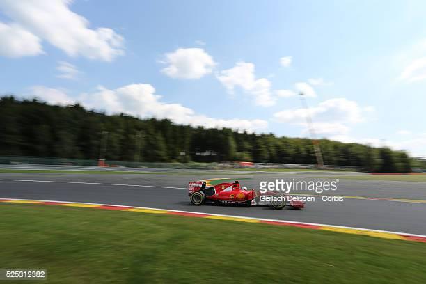 Sebastien Vettel of the Scuderia Ferrari Team during the 2015 Formula 1 Shell Belgian Grand Prix free practice 2 at Circuit de Spa-Francorchamps in...