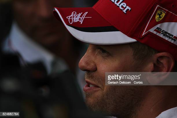 Sebastien Vettel of the Scuderia Ferrari Team interviewed after the 2015 Formula 1 Shell Belgian Grand Prix free practice 2 at Circuit de...