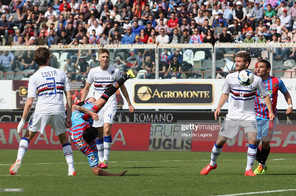 Sebastin Leto of Catania scores his team's opening goal during the Serie A match between Calcio Catania and UC Sampdoria at Stadio Angelo Massimino on April 19, 2014 in Catania, Italy.