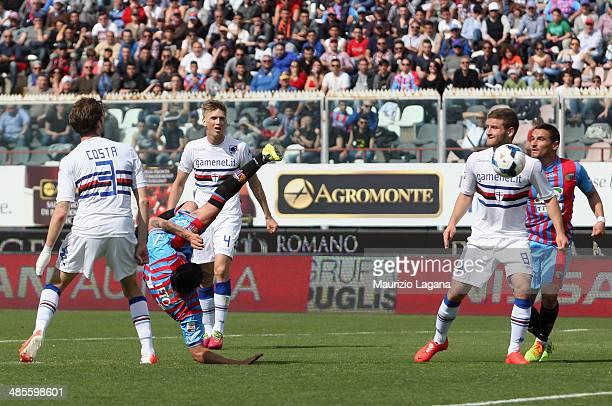 Sebastin Leto of Catania scores his team's opening goal during the Serie A match between Calcio Catania and UC Sampdoria at Stadio Angelo Massimino...