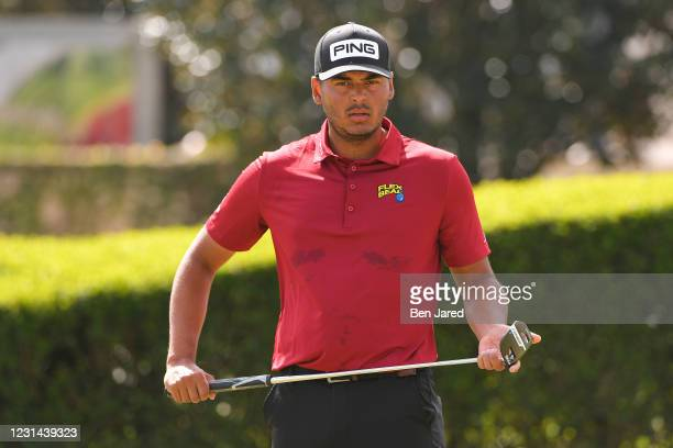 Sebastián Muñoz of Colombia warms up on the range during the final round of the World Golf Championships-Workday Championship at The Concession on...