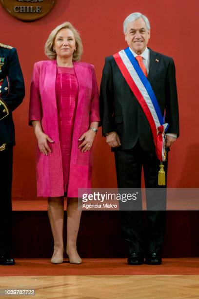 Sebastián Piñera President of Chile poses next to the First Lady Cecilia Morel during Independence Day celebrations at Palacio de La Moneda on...