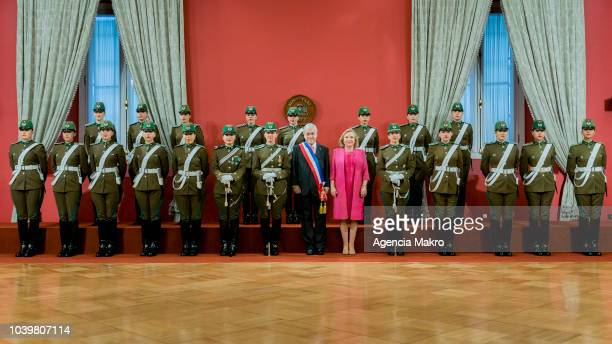 Sebastián Piñera President of Chile poses next to the First Lady Cecilia Morel for the official photo with the Palace Guard during the Independence...