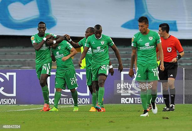 Sebastián Villota of La Equidad celebrates with teammates after scoring the opening goal during a match between Millonarios and La Equidad as part of...
