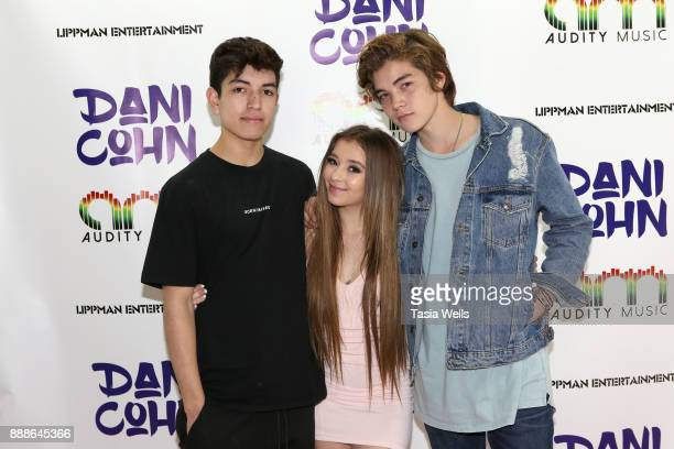 Sebastion Topete Dani Cohn and Matt Sato at Dani Cohn's Single Release Party for #FixYourHeart on December 8 2017 in Burbank California