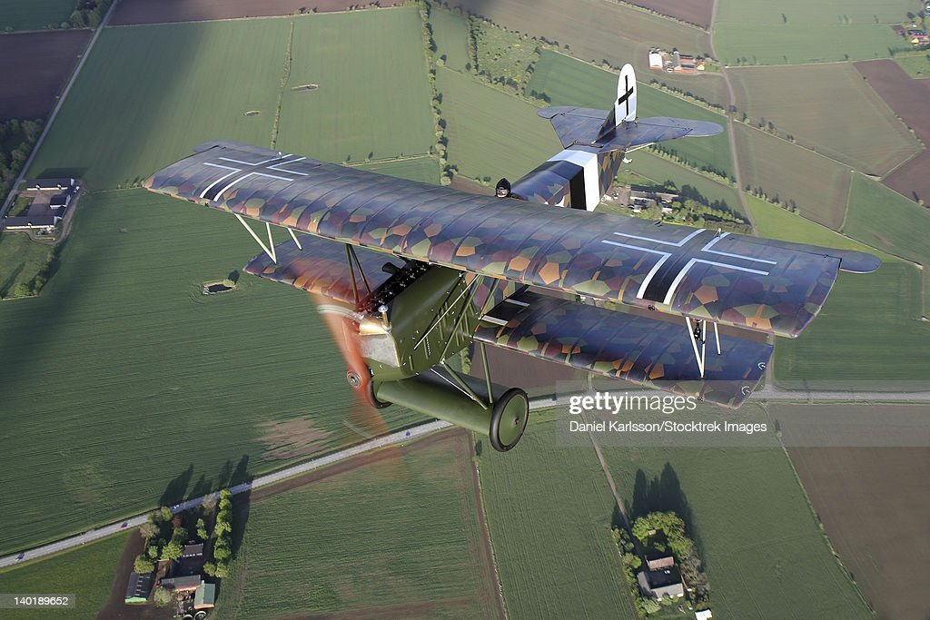 Sebbarp, Sweden - Fokker D.VII World War I replica fighter in the air. : Photo