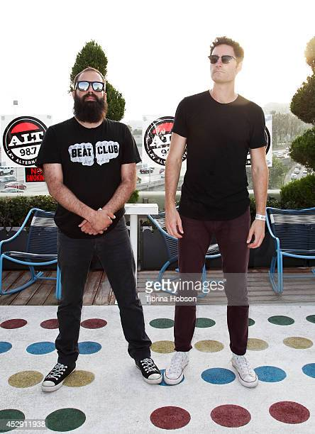 Sebu Simonian and Ryan Merchant of Capital Cities attend the ALT 98.7FM penthouse party concert series at The Historic Hollywood Tower on July 29,...