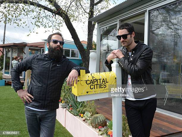 Sebu Simonian and Ryan Merchant of Capital Cities attend the Capital Cities Pop Up at Airbnb Park during SXSW March 14 2014 on March 14 2014 in...