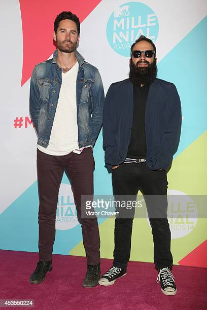 Sebu Simonian and Ryan Merchant of Capital Cities attend the MTV Millennial Awards 2014 red carpet at Pepsi Center WTC on August 12, 2014 in Mexico...