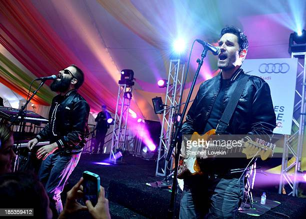 Sebu Simonian and Ryan Merchant of Capital Cities perform onstage at the Victory Celebration at the Finish Line of the 2013 Audi Best Buddies...