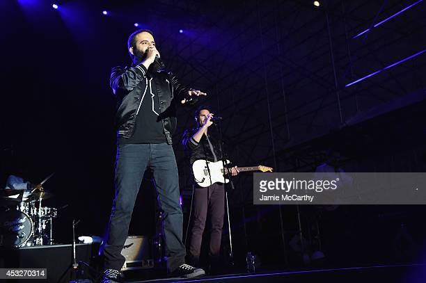 Sebu Simonian and Ryan Merchant of Capital Cities perform onstage at the Drop Your Pants and Dance for Underwareness Concert, hosted by Depend on...