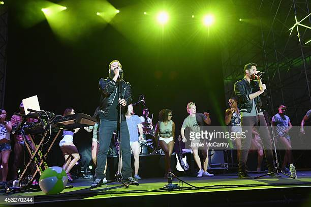 Sebu Simonian and Ryan Merchant of Capital Cities performs onstage at the Drop Your Pants and Dance for Underwareness Concert, hosted by Depend on...