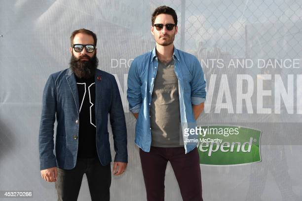 Sebu Simonian and Ryan Merchant of Capital Cities pose at the Drop Your Pants and Dance for Underwareness Concert, hosted by Depend on August 6, 2014...