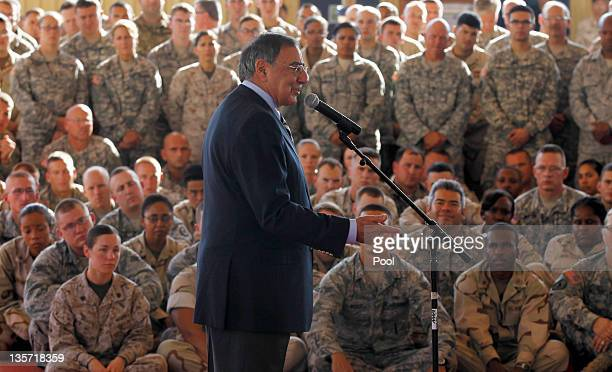 Sec of Defense Leon Panetta speaks to military personnel during his visit to Camp Lemonnier on December 13 2011in Djibouti Panetta who is due to...