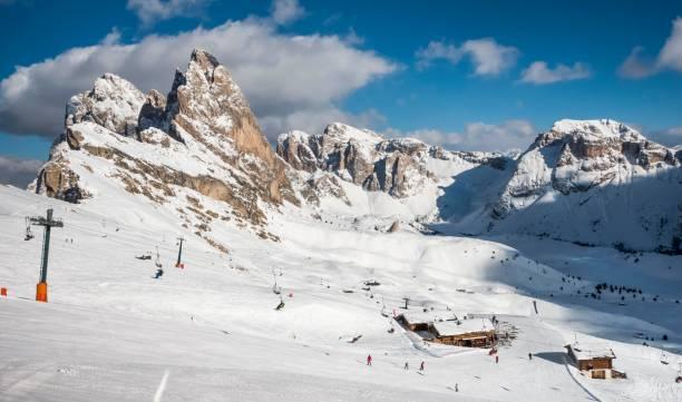 Seceda ski area in winter, in the back Odle group, Puez-Geisler Group, St. Cristina in Val Gardena, Dolomites, South Tyrol, Alto Adige, Italy