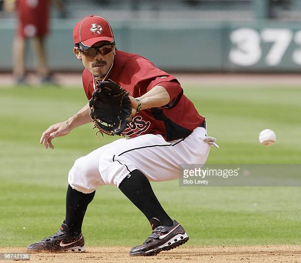 Seceond baseman Kazuo Matsui of the Houston Astros takes infield practice before playing the Cincinnati Reds at Minute Maid Park on April 27 2010 in...