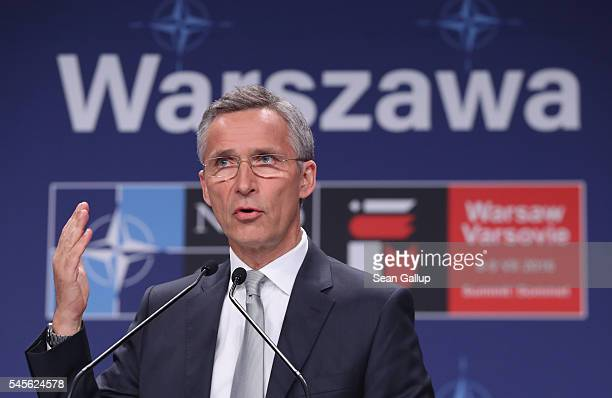 Secetary General Jens Stoltenberg speaks to the media at the Warsaw NATO Summit on July 9 2016 in Warsaw Poland NATO member heads of state foreign...