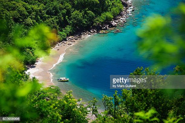 secluded beach in saint lucia. - st. lucia stock pictures, royalty-free photos & images