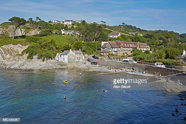 secluded harbour of lee in north devon - ilfracombe stock photos and pictures